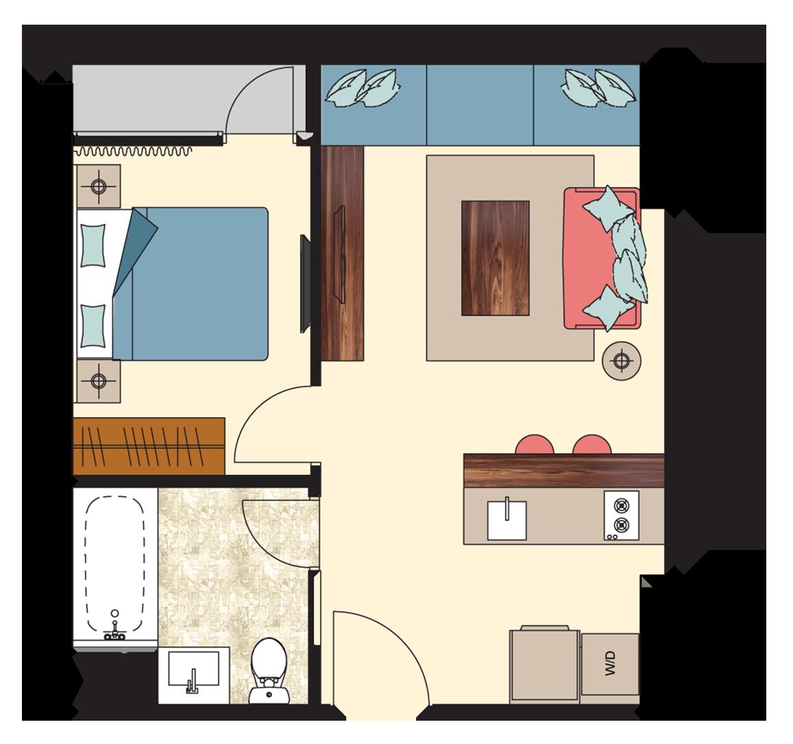 Pasadena-1-bedroom-D5 Floorplan