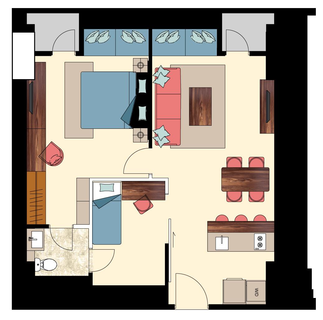 Pasadena-2-bedroom-E1 floorplan