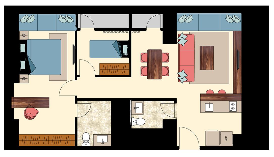 Pasadena-2-bedrooms-D3 floorplan