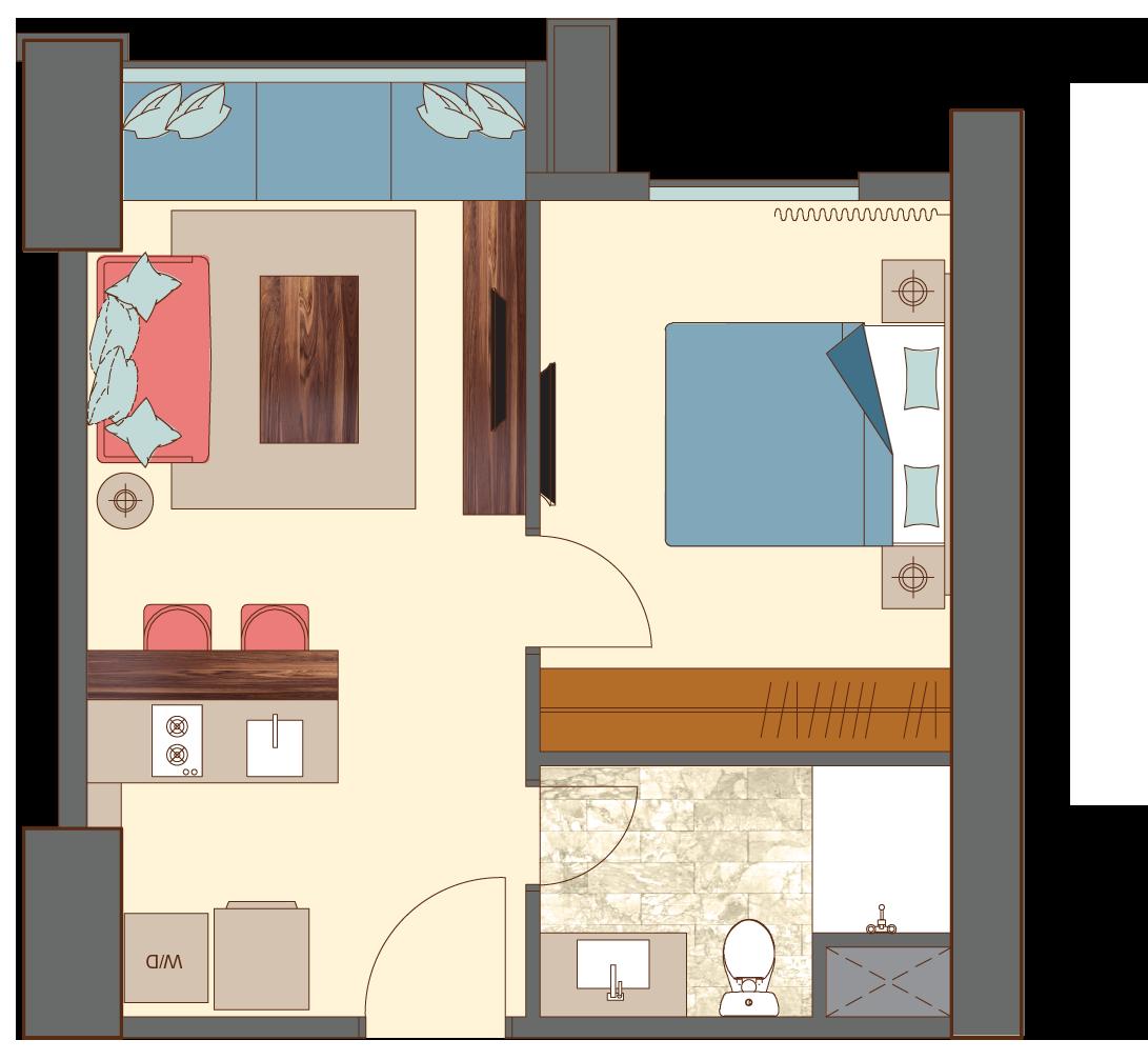 West-1-bedroom-B5 floorplan