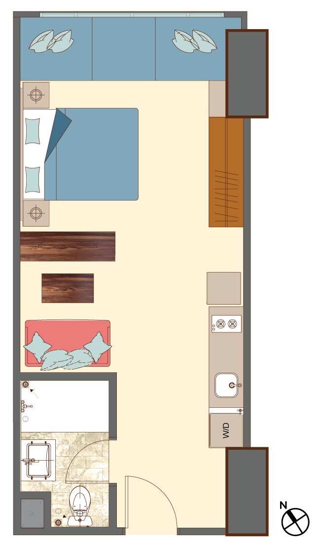 West-1-bedroom-B8 floorplan