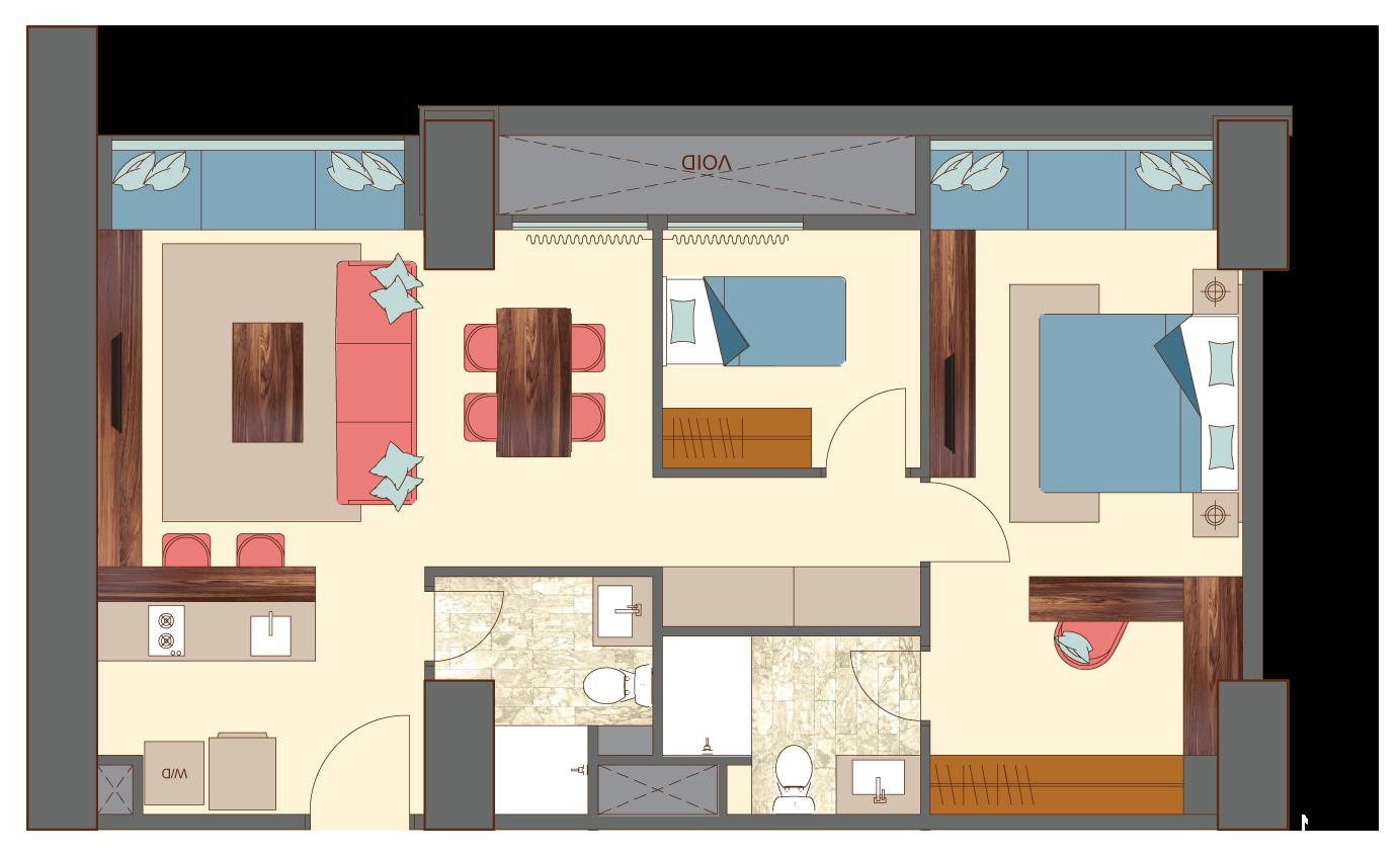 West-2-bedrooms-B3 floorplan