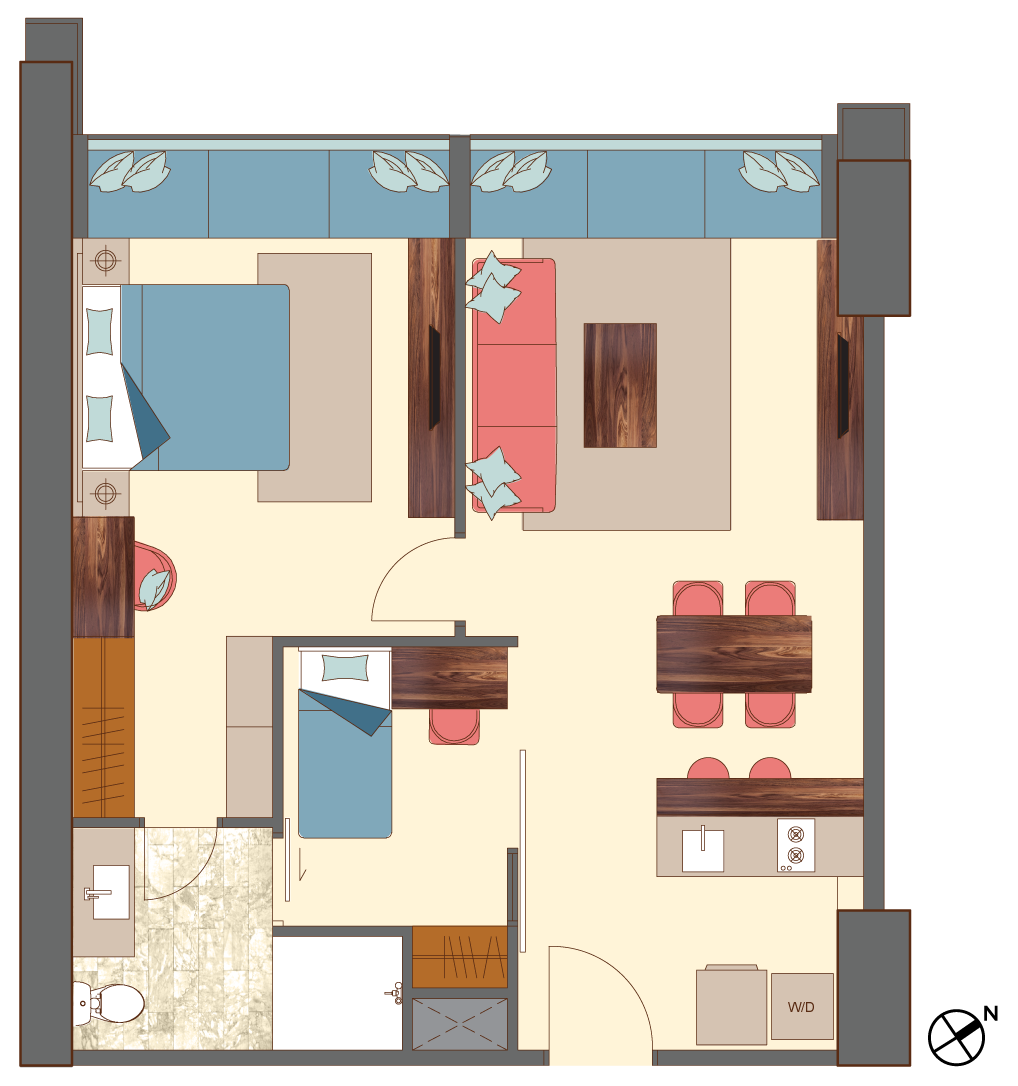 West-2-bedrooms-B8,C7 floorplan