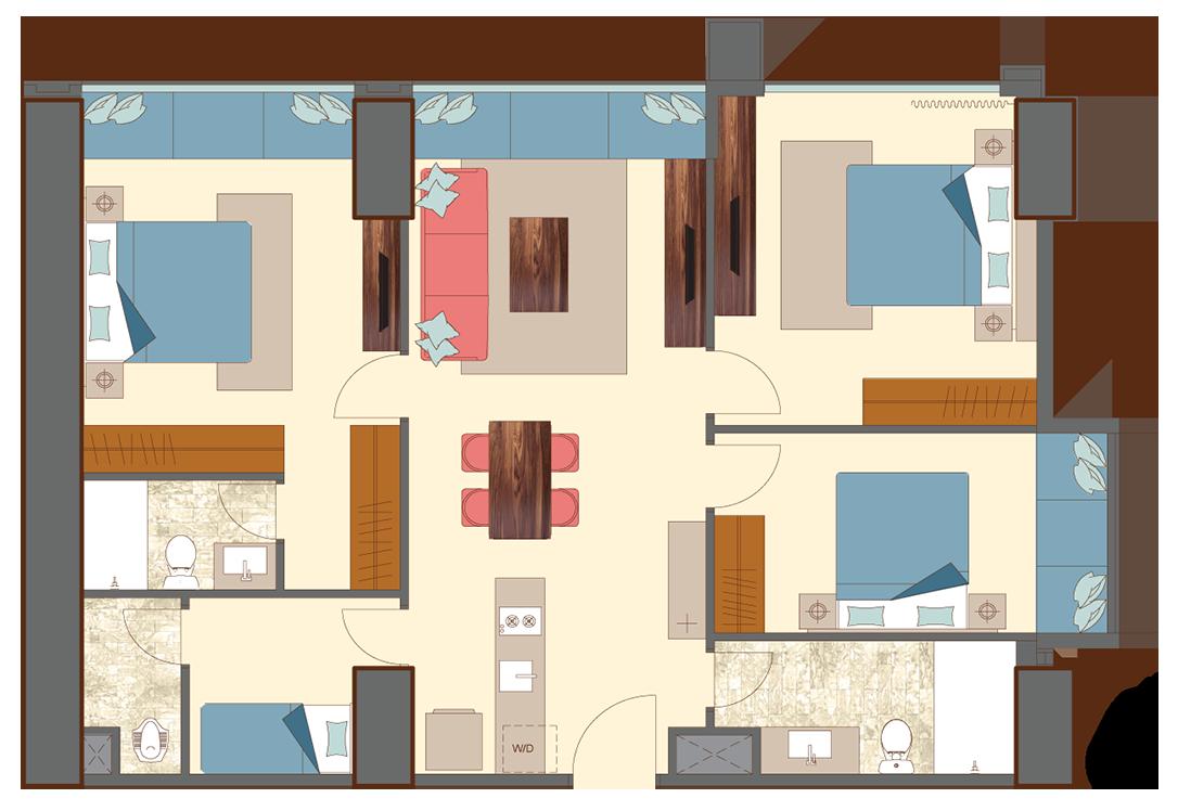 West-3-bedrooms-A8 floorplan
