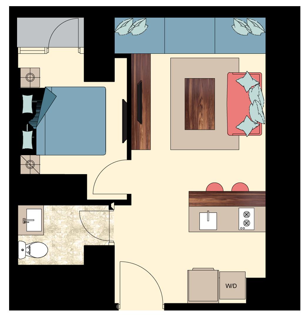 Pasadena-1-Bedroom-Deluxe-N2 floorplan
